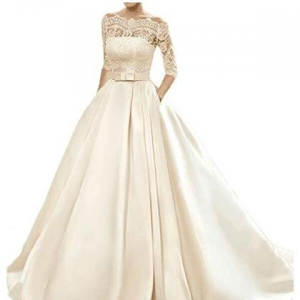 Long Wedding Dress, Satin Wedding D..