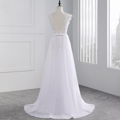Long Wedding Dress, Chiffon Wedding..