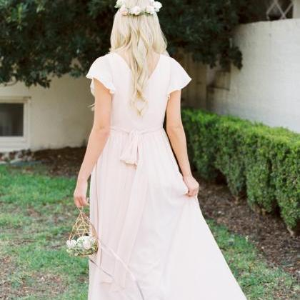 Long Bridesmaid Dress, V-Neck Bride..