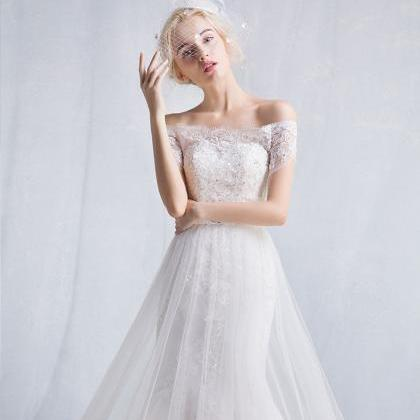Long Wedding Dress, Off Shoulder We..