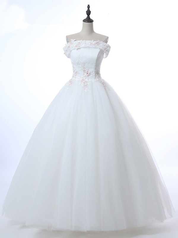 Lace Appliques Off-The-Shoulder Floor Length Tulle Wedding Gown Featuring Lace-Up Back