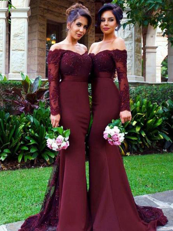 4ad0dd4c887 Custom Made Red Wine Off-Shoulder Chiffon Long Mermaid Bridesmaid Dress  with Lace Applique