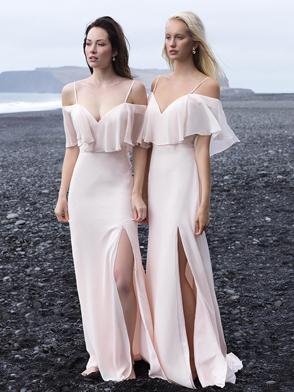 a2ced15789539b Custom Made Pink Cold Shoulder Chiffon Long Bridesmaid Dress on Luulla