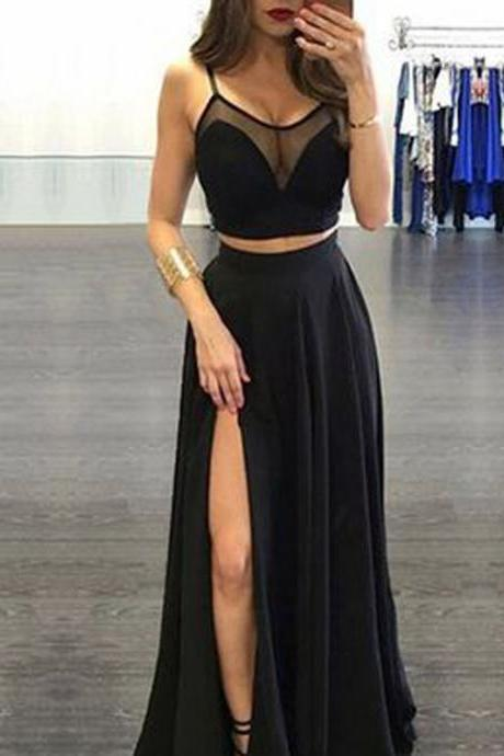Long Prom Dress, Two Pieces Prom Dress, Side Split Prom Dress, Sexy Prom Dress, Party Dress, LB0028