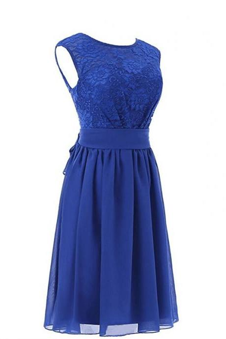 Blue Lace Crew Neck Sleeveless Short Chiffon A-Line Bridesmaid Dress Featuring Bow Accent Back