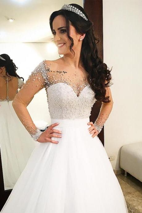 Long Wedding Dress, A-Line Wedding Dress, Applique Wedding Dress, Full Sleeve Beading Bridal Dress, LB0104