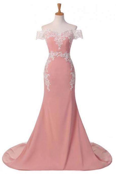 Custom Made Pink Off-Shoulder Mermaid Bridesmaid Dress with Lace Applique