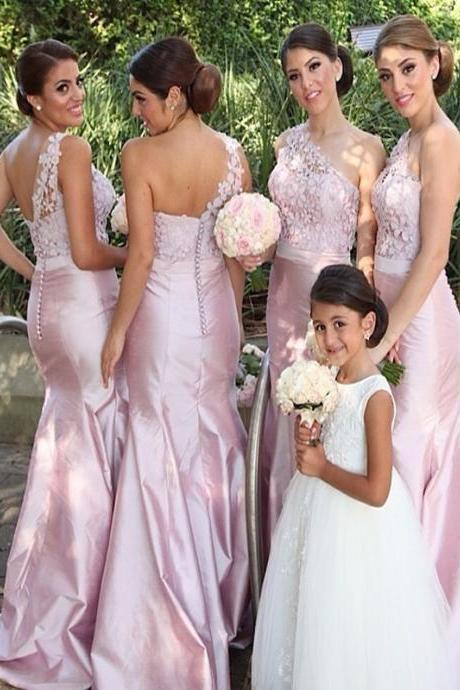 Long Bridesmaid Dress, Satin Bridesmaid Dress, One-Shoulder Bridesmaid Dress, Dress for Wedding, Applique Bridesmaid Dress, Lace Bridesmaid Dress, LB0244