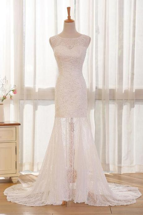 Long Wedding Dress, Lace Wedding Dress, Mermaid Wedding Dress, Sleeveless Bridal Dress, Charming Wedding Dress, Wedding Dress with Court Train, LB0293
