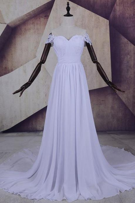 Lace Appliques Off-The-Shoulder Ruched Sweetheart Floor Length Chiffon A-Line Wedding Dress Featuring Sweep Train