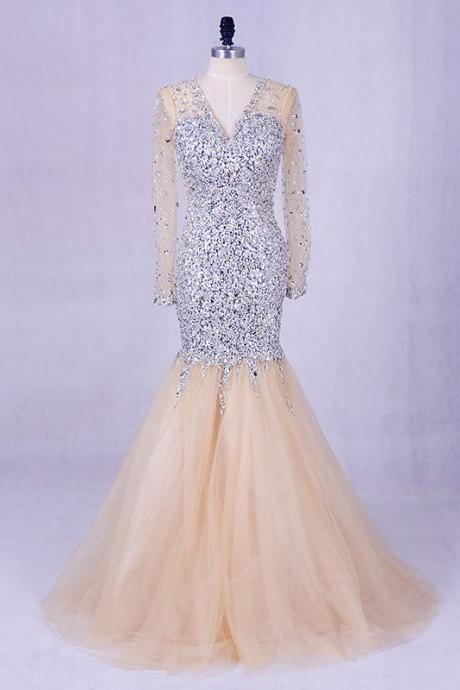 Long Prom Dresses, Long Sleeve Prom Dresses, Mermaid Party Prom Dresses, Tulle Prom Dresses, Beading Prom Dresses, Sequin and Rhinestone Prom Dresses Online, LB0297