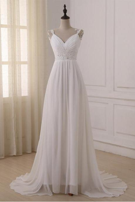 Chiffon Plunge V Lace Shoulder Straps Floor Length A-Line Wedding Dress Featuring Beaded Embellishment , Lace-Up Back and Sweep Train