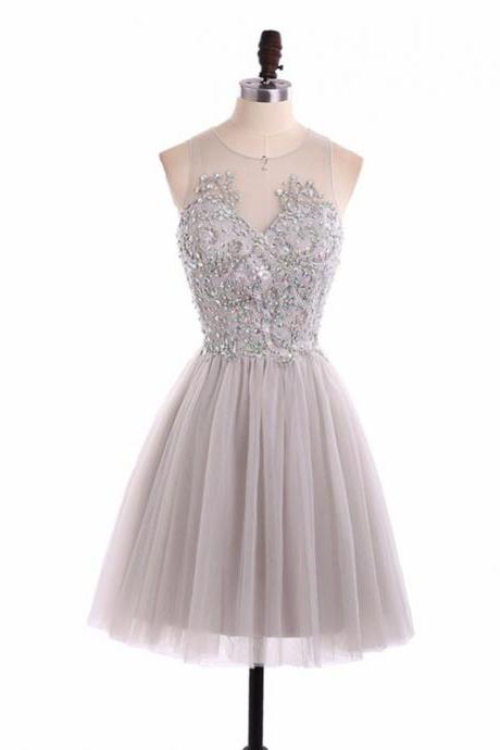 Short Homecoming Dress, Tulle Homecoming Dress, Knee-Length Homecoming Dress, Beading Junior School Dress, Sleeveless Homecoming Dress, Rhinestone Homecoming Dress, LB0381