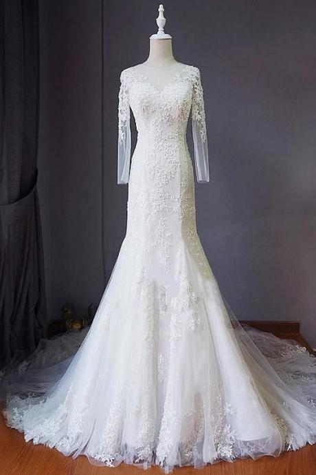 Floral Lace Appliques Crew Neck Long Mesh Sleeves Floor Length Tulle Mermaid Wedding Dress Featuring Lace-Up Back and Train
