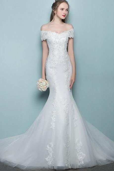 Lace Appliques Off-The-Shoulder Floor Length Tulle Mermaid Wedding Dress Featuring Train and Lace-Up Back