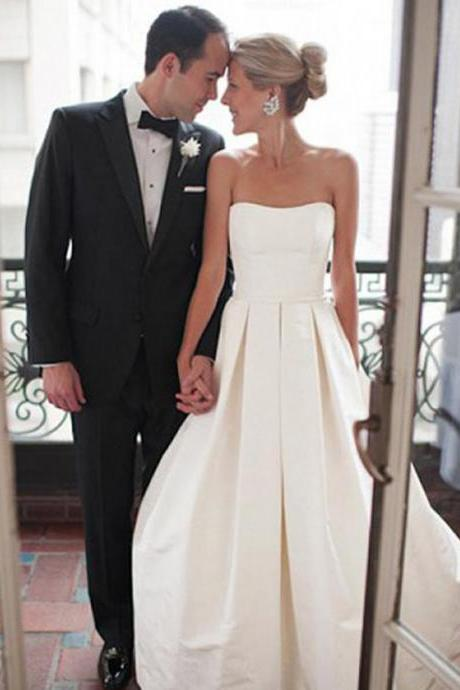 Long Wedding Dress, Satin Wedding Dress, A-Line Bridal Dress, Sweet Heart Wedding Dress, Backless Wedding Dress, Sleeveless Wedding Dress, Floor-Length Wedding Dress, LB0440
