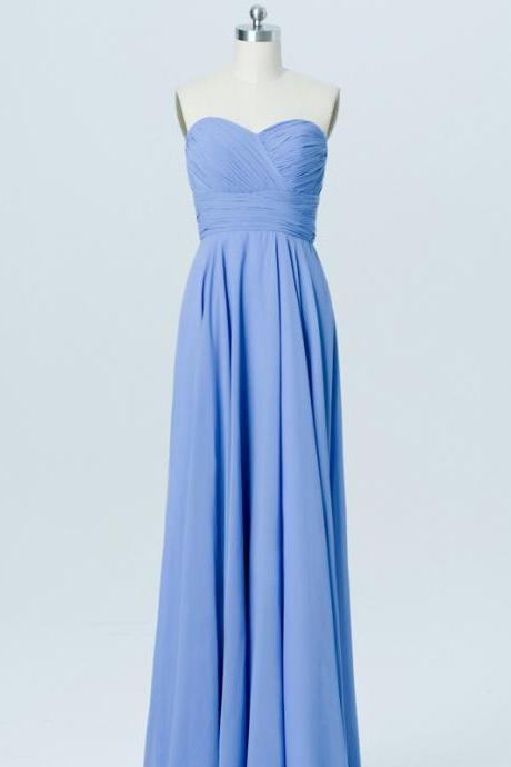 Custom Made Blue Sweetheart Neckline Chiffon Long Bridesmaid Dress with Draped Detailing
