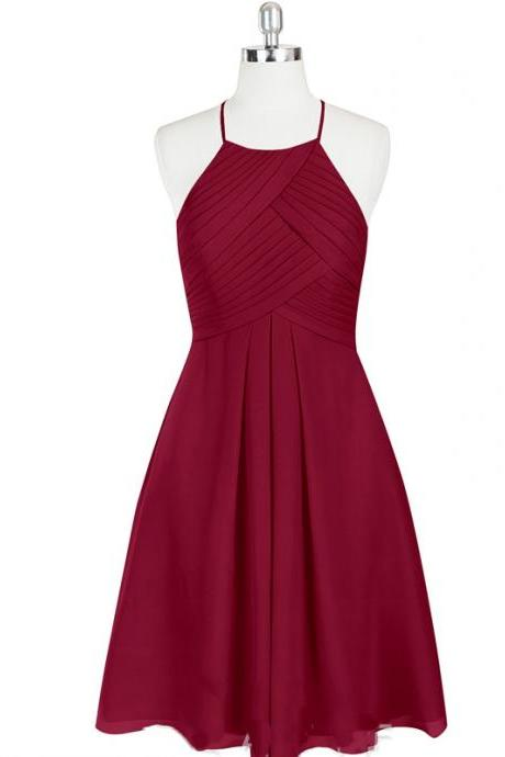 Halter Neckline Short Evening Dress, Bridesmaid Dress, Homecoming Dress - Red