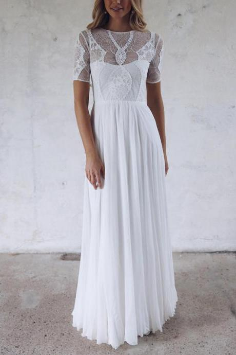Long Wedding Dress, Chiffon Wedding Dress, High Quality Bridal Dress, Open-Back Wedding Dress, Lace Wedding Dress, Short Sleeve Wedding Dress, White Wedding Dress, LB0587