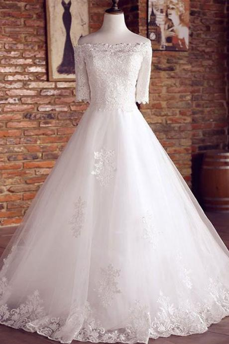 Long Wedding Dress, Tulle Wedding Dress, Applique Bridal Dress, Off Shoulder Wedding Dress, Floor-Length Wedding Dress, Short Sleeve Wedding Dress, Lace Wedding Dress, LB0647