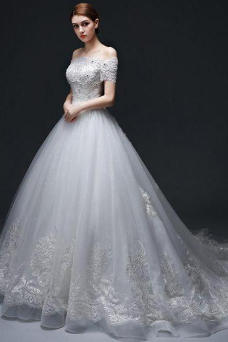 Lace Appliques and Beaded Embellished Off-The-Shoulder Floor Length Tulle Wedding Gown Featuring Lace-Up Back and Chapel Train