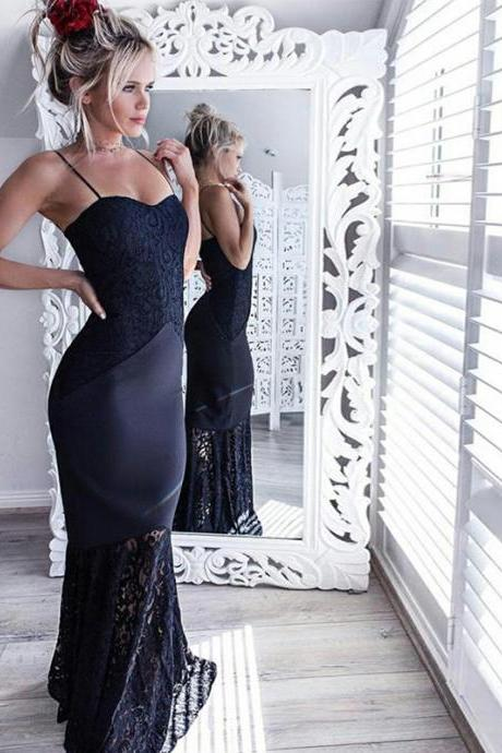Long Prom Dress, Jersey Prom Dress, Lace Prom Dress, Mermaid Prom Dress, Sexy Prom Dress, Spaghetti Straps Prom Dress, Party Dresses, Evening Dresses, LB0721