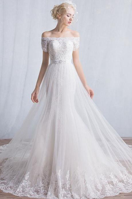 Long Wedding Dress, Off Shoulder Wedding Dress, Tulle Wedding Dress, Lace Bridal Dress, Gorgeous Wedding Dress, Beading Bridal Dress, High Quality Wedding Dress, LB0792