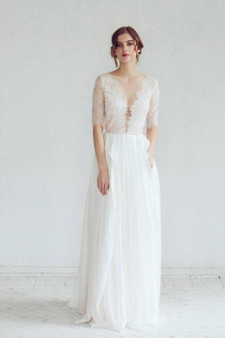Long Wedding Dress, Chiffon Wedding Dress, Half Sleeve Wedding Dress, Lace Bridal Dress, Charming Wedding Dress, Tulle Wedding Dress, LB0830