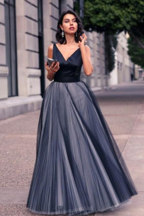 Long Prom Dresses, Tulle Prom Dresses, Sleeveless Prom Dresses, V-Neck Prom Dresses, A-Line Prom Dress, Floor-length Prom Dress, Satin Prom Dress, LB0837