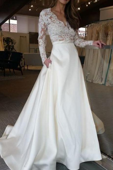 Long Wedding Dress, Lace Wedding Dress, Satin Wedding Dress, Elegant Bridal Dress, Long Sleeve Wedding Dress,V-Neck Wedding Dress, LB0843