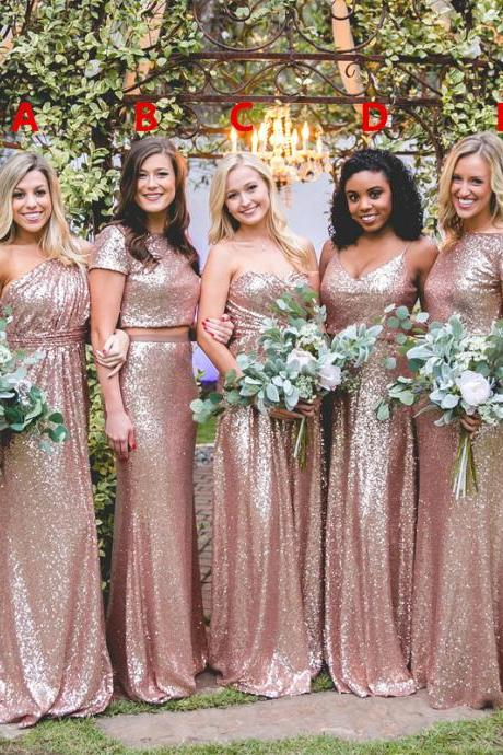 Long Bridesmaid Dress, Sequin Bridesmaid Dress, Mismatched Bridesmaid Dress, Dress for Wedding, Sparkle Bridesmaid Dress, LB0851