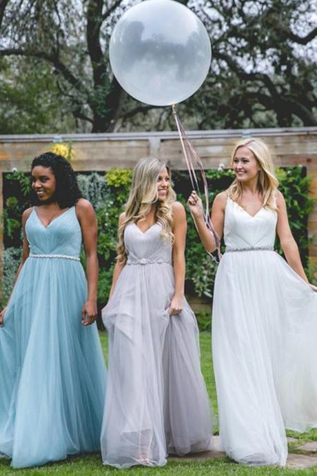 Long Bridesmaid Dress, Tulle Bridesmaid Dress, V-Neck Bridesmaid Dress, Dress for Wedding, Backless Bridesmaid Dress, Spaghetti Straps Bridesmaid Dress, LB0852