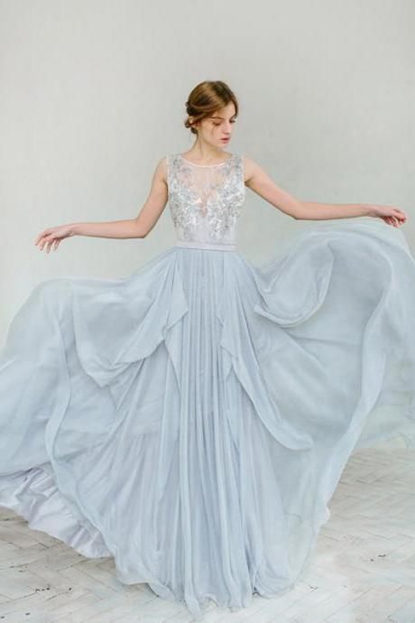 Lace Appliques Plunge V Illusion Sleeveless Chiffon Floor Length A-Line Wedding Dress Featuring Bow Accent Plunge V Back