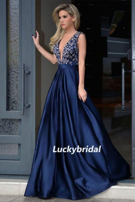 Long Prom Dresses, Satin Prom Dresses, Deep V-Neck Prom Dresses, Beading Prom Dresses, Sexy Prom Dress, Floor-length Prom Dress, LB0862