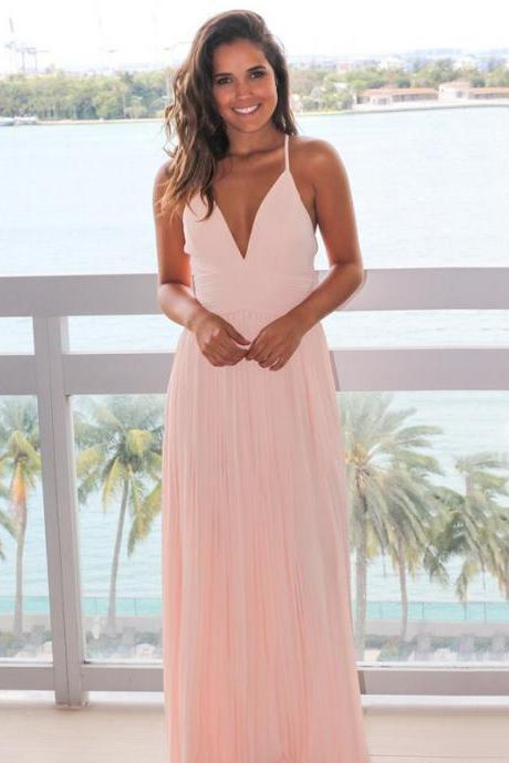 Pink Spaghetti Straps Chiffon Bridesmaid Dress, Backless Floor-Length Bridesmaid Dress, Dress for Wedding, LB154
