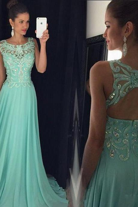Round Neckline Prom Dresses, Chiffon Applique Beaded Prom Dresses, Open-Back Prom Dresses, LB382