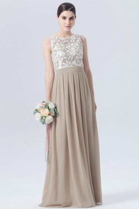Lace Top Chiffon Bridesmaid Dress, Sleeveless Floor-Length Bridesmaid Dress, Dress for Wedding, LB458