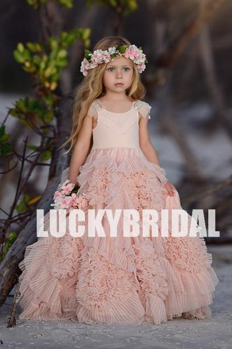 Beaded Tulle Flower Girl Dresses, Popular Little Girl Dresses, LB798