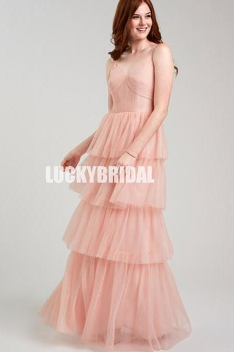 Sexy V-Neck Tulle Spaghetti Straps Backless Cheap A-Line Bridesmaid Dresses, LB1156