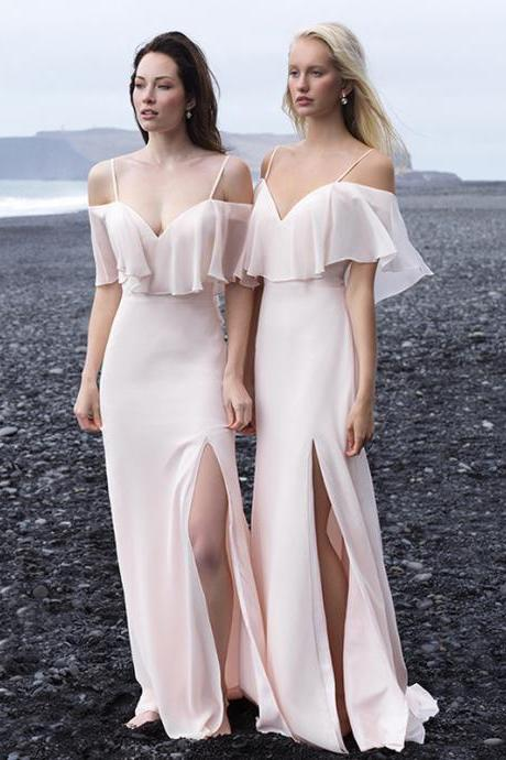 Custom Made Pink Cold Shoulder Chiffon Long Bridesmaid Dress