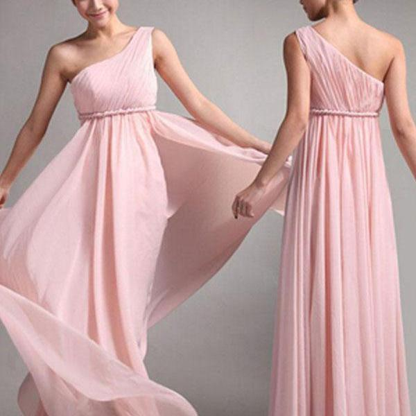 Long Bridesmaid Dress, Chiffon Bridesmaid Dress, Floor-Length Bridesmaid Dress, Dress for Wedding, One-Shoulder Bridesmaid Dress, LB0182