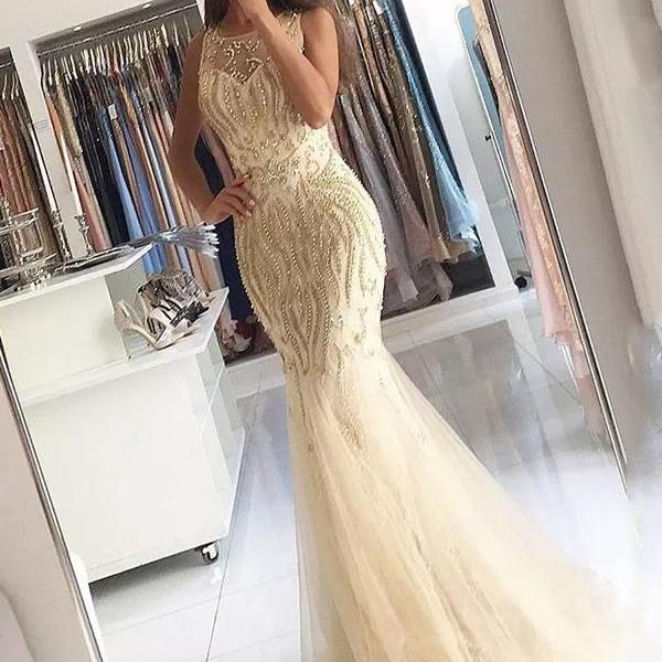 Long Prom Dress, Tulle Prom Dress, Sleeveless Backless Prom Dress, Beading Prom Dress, Sexy Prom Dress, Floor-Length Party Dresses, LB0789